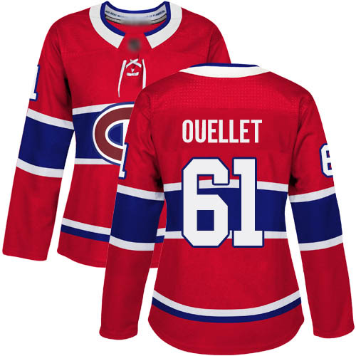 Adidas Women's Xavier Ouellet Authentic Red Home Jersey: NHL #61 Montreal Canadiens