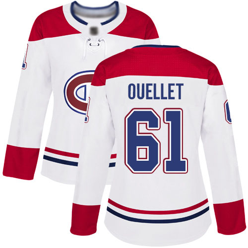 Adidas Women's Xavier Ouellet Authentic White Away Jersey: NHL #61 Montreal Canadiens