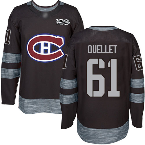 Adidas Men's Xavier Ouellet Authentic Black Jersey: NHL #61 Montreal Canadiens 1917-2017 100th Anniversary