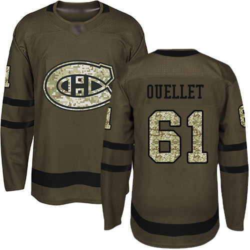 Adidas Youth Xavier Ouellet Authentic Green Jersey: NHL #61 Montreal Canadiens Salute to Service