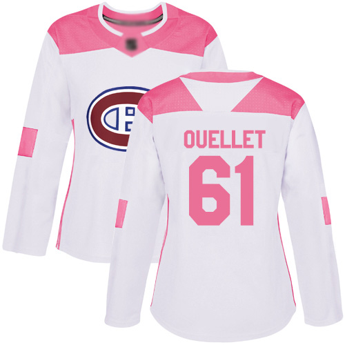 Adidas Women's Xavier Ouellet Authentic White/Pink Jersey: NHL #61 Montreal Canadiens Fashion