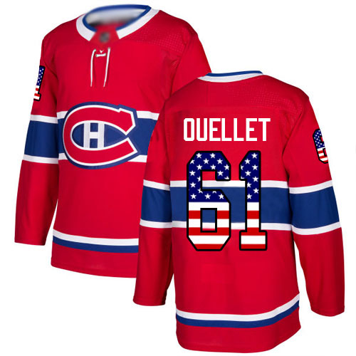 Adidas Men's Xavier Ouellet Authentic Red Jersey: NHL #61 Montreal Canadiens USA Flag Fashion