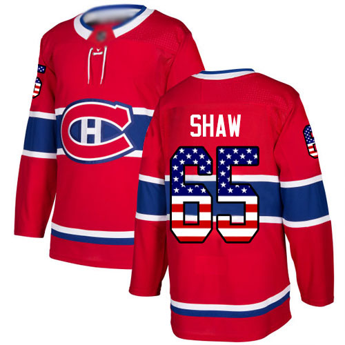 Adidas Youth Andrew Shaw Authentic Red Jersey: NHL #65 Montreal Canadiens USA Flag Fashion