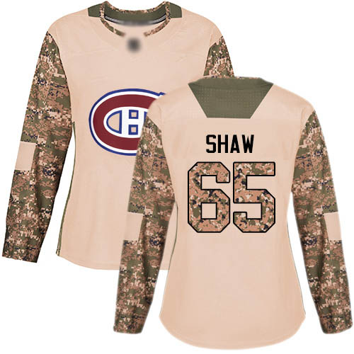 Adidas Women's Andrew Shaw Authentic Camo Jersey: NHL #65 Montreal Canadiens Veterans Day Practice