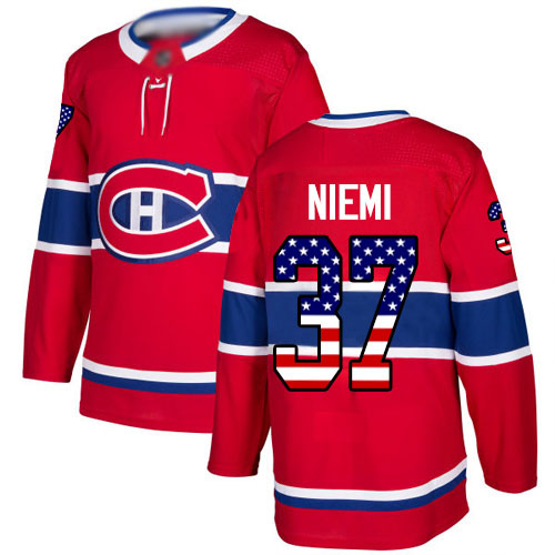 Adidas Youth Antti Niemi Authentic Red Jersey: NHL #37 Montreal Canadiens USA Flag Fashion