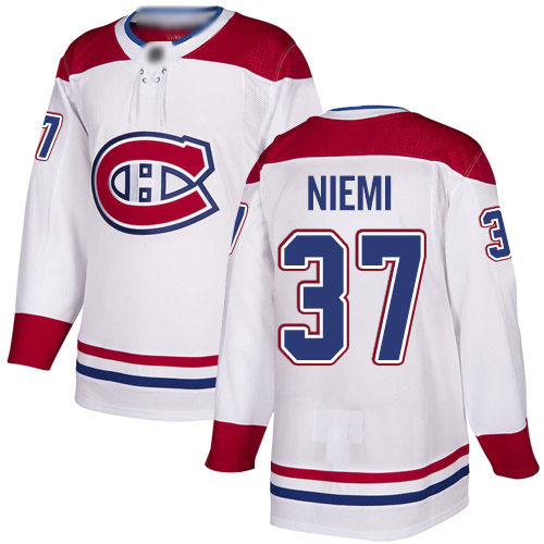 Adidas Men's Antti Niemi Authentic White Away Jersey: NHL #37 Montreal Canadiens