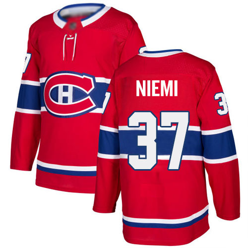 Adidas Youth Antti Niemi Authentic Red Home Jersey: NHL #37 Montreal Canadiens