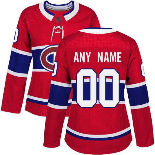 Adidas Women's Authentic Red Home Jersey: NHL Montreal Canadiens Customized