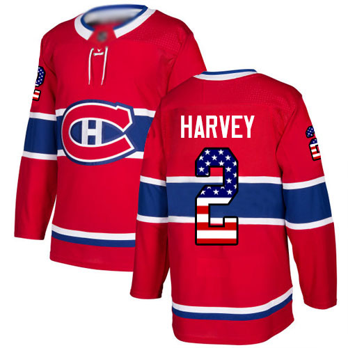 Adidas Men's Doug Harvey Authentic Red Jersey: NHL #2 Montreal Canadiens USA Flag Fashion