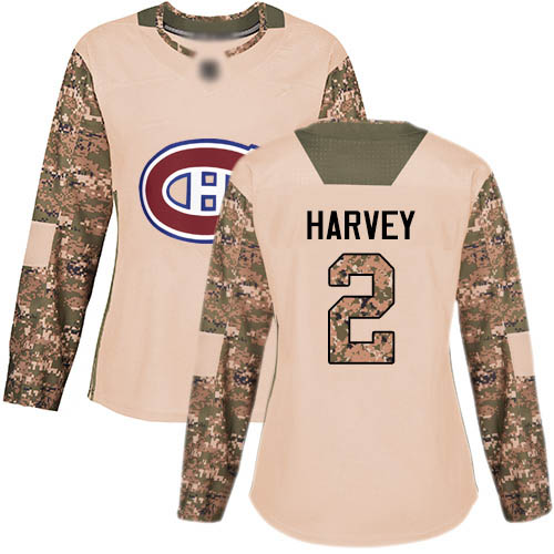 Adidas Women's Doug Harvey Authentic Camo Jersey: NHL #2 Montreal Canadiens Veterans Day Practice