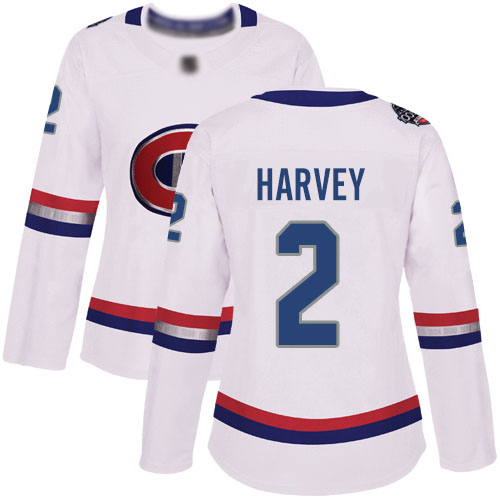 Adidas Women's Doug Harvey Authentic White Jersey: NHL #2 Montreal Canadiens 2017 100 Classic