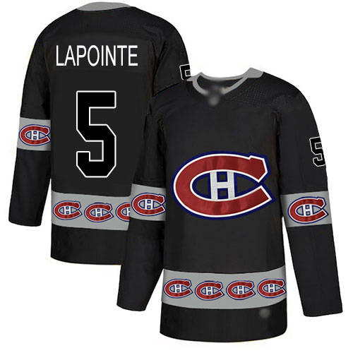 Men's Guy Lapointe Authentic Black Jersey: Hockey #5 Montreal Canadiens Team Logo Fashion