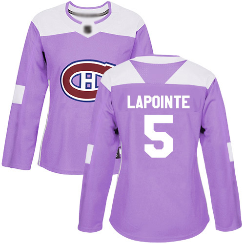 Women's Guy Lapointe Authentic Purple Jersey: Hockey #5 Montreal Canadiens Fights Cancer Practice