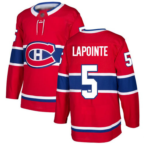 Men's Guy Lapointe Premier Red Home Jersey: Hockey #5 Montreal Canadiens
