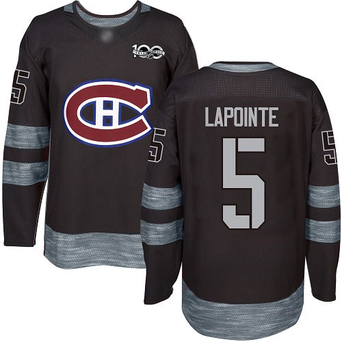 Men's Guy Lapointe Authentic Black Jersey: Hockey #5 Montreal Canadiens 1917-2017 100th Anniversary