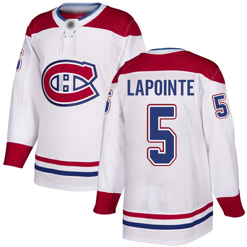 Youth Guy Lapointe Authentic White Away Jersey: Hockey #5 Montreal Canadiens