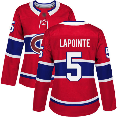 Women's Guy Lapointe Authentic Red Home Jersey: Hockey #5 Montreal Canadiens