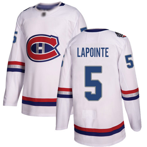 Men's Guy Lapointe Authentic White Jersey: Hockey #5 Montreal Canadiens 2017 100 Classic