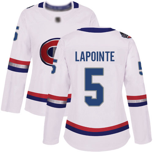 Women's Guy Lapointe Authentic White Jersey: Hockey #5 Montreal Canadiens 2017 100 Classic