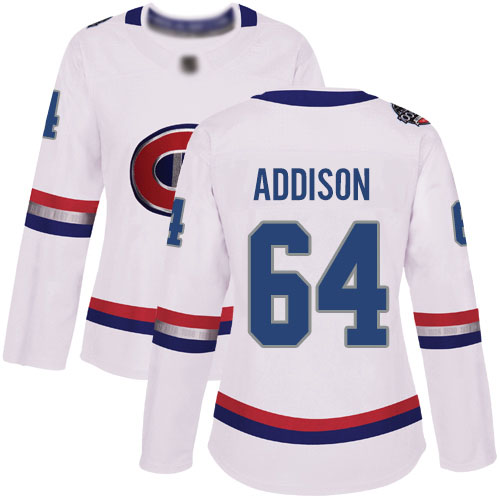 Adidas Women's Jeremiah Addison Authentic White Jersey: NHL #64 Montreal Canadiens 2017 100 Classic