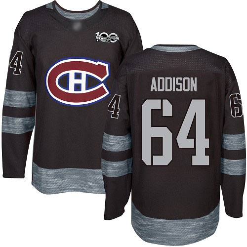 Adidas Men's Jeremiah Addison Authentic Black Jersey: NHL #64 Montreal Canadiens 1917-2017 100th Anniversary
