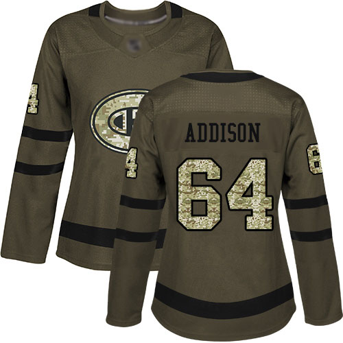 Adidas Women's Jeremiah Addison Authentic Green Jersey: NHL #64 Montreal Canadiens Salute to Service