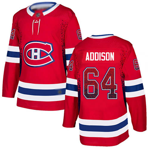 Adidas Men's Jeremiah Addison Authentic Red Jersey: NHL #64 Montreal Canadiens Drift Fashion
