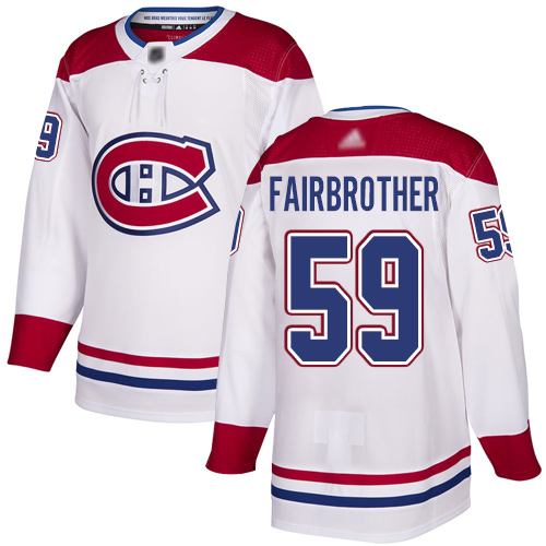 Reebok Men's Jeremiah Addison Authentic White Away Jersey: NHL #64 Montreal Canadiens