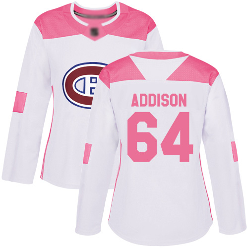 Adidas Women's Jeremiah Addison Authentic White/Pink Jersey: NHL #64 Montreal Canadiens Fashion
