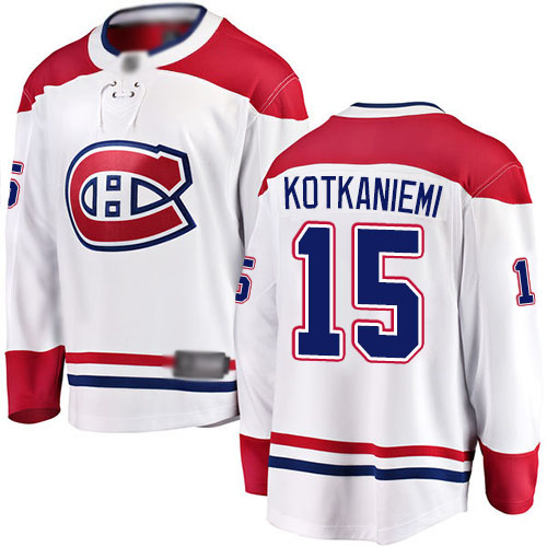 Fanatics Branded Youth Jesperi Kotkaniemi Breakaway White Away Jersey: NHL #15 Montreal Canadiens