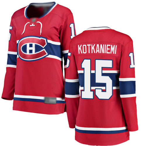 Fanatics Branded Women's Jesperi Kotkaniemi Breakaway Red Home Jersey: NHL #15 Montreal Canadiens