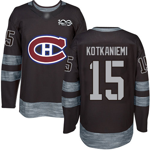 Adidas Men's Jesperi Kotkaniemi Authentic Black Jersey: NHL #15 Montreal Canadiens 1917-2017 100th Anniversary