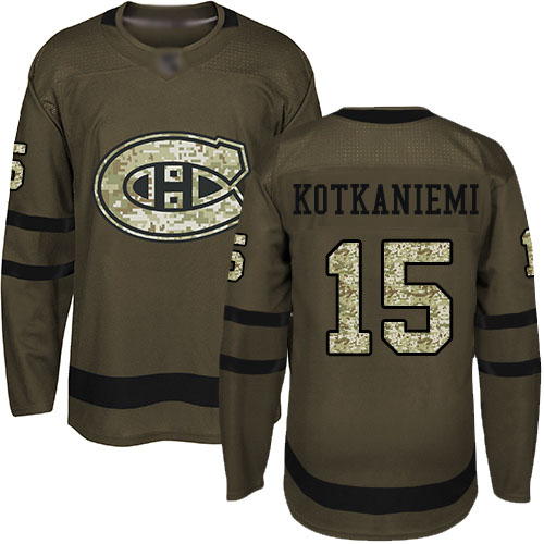 Adidas Youth Jesperi Kotkaniemi Authentic Green Jersey: NHL #15 Montreal Canadiens Salute to Service