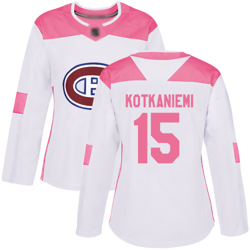 Adidas Women's Jesperi Kotkaniemi Authentic White/Pink Jersey: NHL #15 Montreal Canadiens Fashion