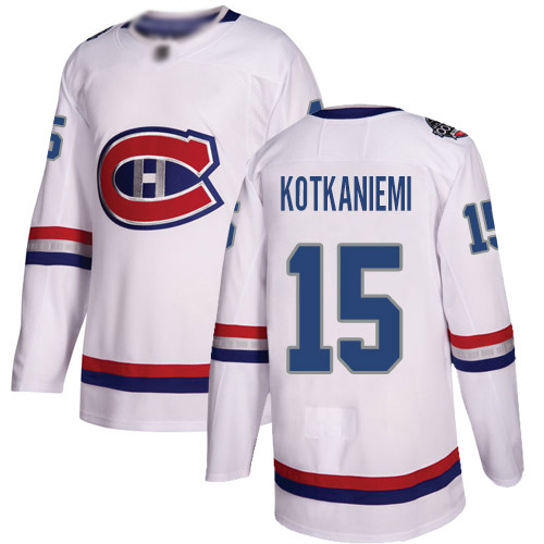 Adidas Youth Jesperi Kotkaniemi Authentic White Jersey: NHL #15 Montreal Canadiens 2017 100 Classic