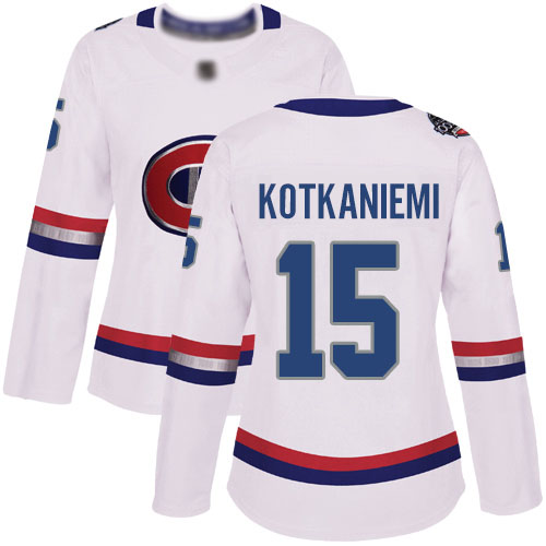 Adidas Women's Jesperi Kotkaniemi Authentic White Jersey: NHL #15 Montreal Canadiens 2017 100 Classic