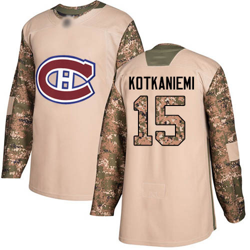 Adidas Youth Jesperi Kotkaniemi Authentic Camo Jersey: NHL #15 Montreal Canadiens Veterans Day Practice
