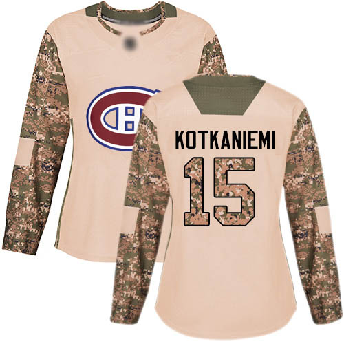 Adidas Women's Jesperi Kotkaniemi Authentic Camo Jersey: NHL #15 Montreal Canadiens Veterans Day Practice