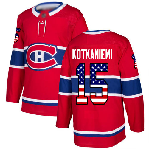 Adidas Youth Jesperi Kotkaniemi Authentic Red Jersey: NHL #15 Montreal Canadiens USA Flag Fashion