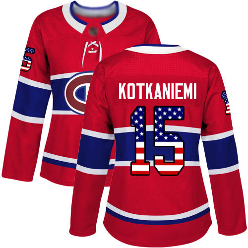 Adidas Women's Jesperi Kotkaniemi Authentic Red Jersey: NHL #15 Montreal Canadiens USA Flag Fashion