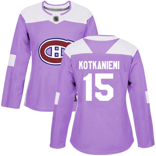 Adidas Women's Jesperi Kotkaniemi Authentic Purple Jersey: NHL #15 Montreal Canadiens Fights Cancer Practice