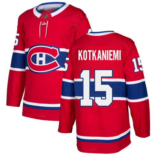 Adidas Youth Jesperi Kotkaniemi Authentic Red Home Jersey: NHL #15 Montreal Canadiens