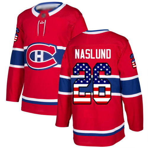 Adidas Men's Mats Naslund Authentic Red Jersey: NHL #26 Montreal Canadiens USA Flag Fashion