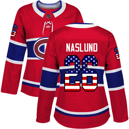 Adidas Women's Mats Naslund Authentic Red Jersey: NHL #26 Montreal Canadiens USA Flag Fashion
