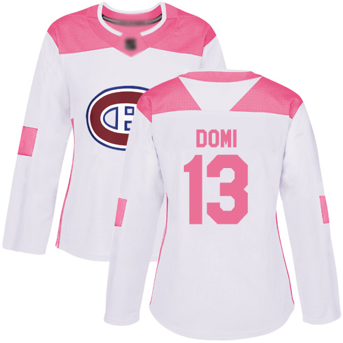 Adidas Women's Max Domi Authentic White/Pink Jersey: NHL #13 Montreal Canadiens Fashion