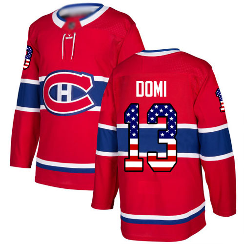 Adidas Youth Max Domi Authentic Red Jersey: NHL #13 Montreal Canadiens USA Flag Fashion