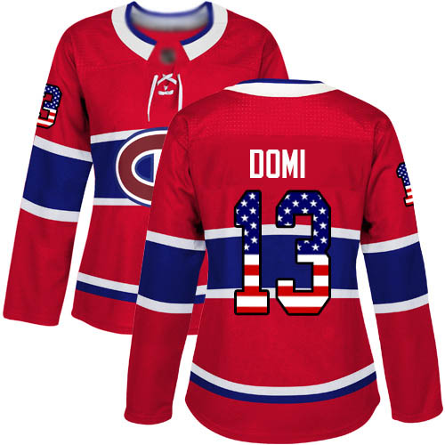 Adidas Women's Max Domi Authentic Red Jersey: NHL #13 Montreal Canadiens USA Flag Fashion