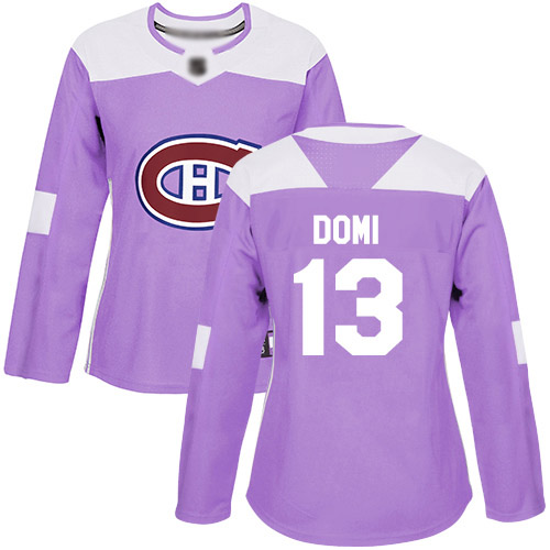 Adidas Women's Max Domi Authentic Purple Jersey: NHL #13 Montreal Canadiens Fights Cancer Practice