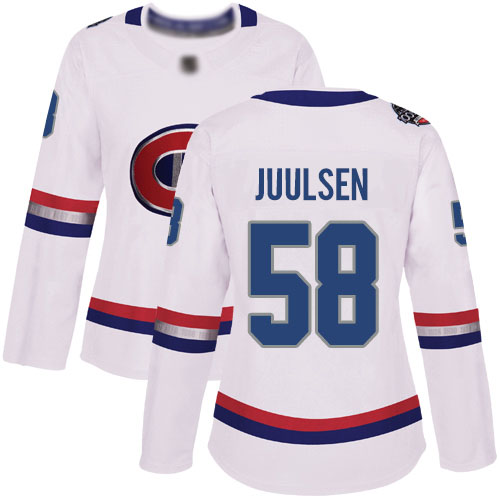 Women's Noah Juulsen Authentic White Jersey: Hockey #58 Montreal Canadiens 2017 100 Classic