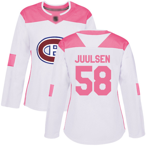 Women's Noah Juulsen Authentic White/Pink Jersey: Hockey #58 Montreal Canadiens Fashion